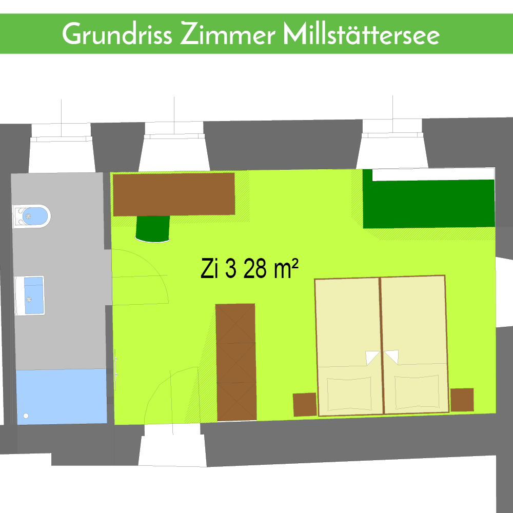 Grundriss Zimmer Millstättersee Gasthaus Gatternig