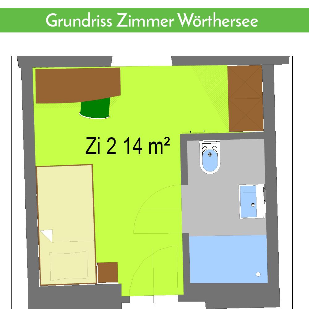 Grundriss Zimmer Wörthersee Gasthaus Gatternig